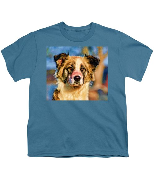 Buster Dog Viewing The Sunset Youth T-Shirt
