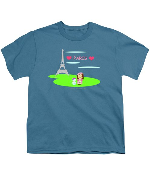 Cathy And The Cat In Paris Youth T-Shirt by Laura Greco