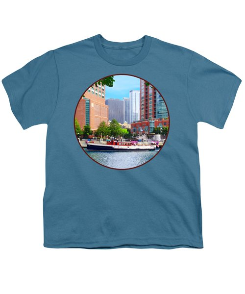 Chicago Il - Chicago River Near Centennial Fountain Youth T-Shirt by Susan Savad