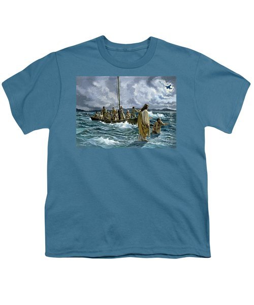 Christ Walking On The Sea Of Galilee Youth T-Shirt