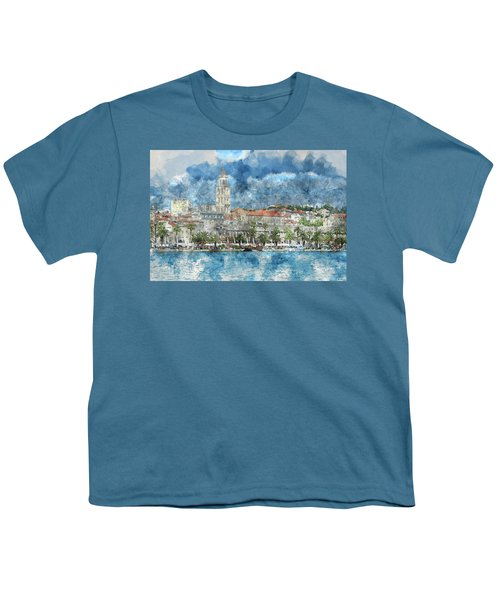 City Of Split In Croatia With Birds Flying In The Sky Youth T-Shirt