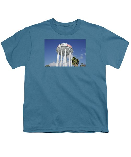 Cocoa Water Tower With American Flag Youth T-Shirt