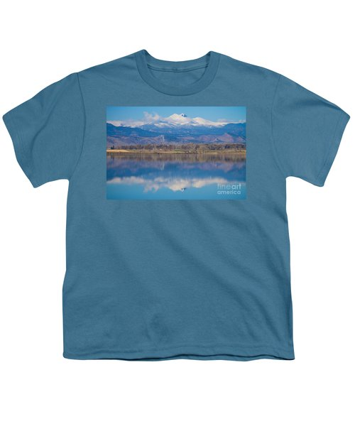Colorado Longs Peak Circling Clouds Reflection Youth T-Shirt by James BO  Insogna