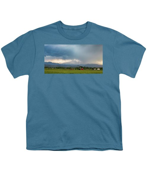 Youth T-Shirt featuring the photograph Colorado Rocky Mountain Red Barn Country Storm by James BO Insogna