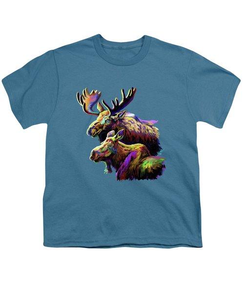 Colorful Moose Youth T-Shirt by Anthony Mwangi