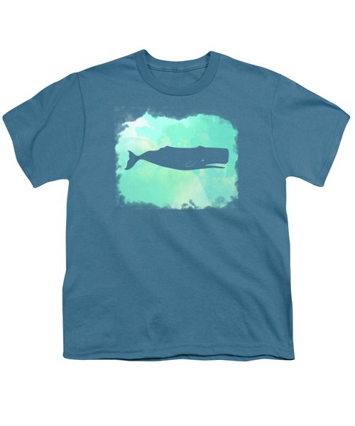 Colorful Watercolor Sperm Whale Sea Life Coastal Art Youth T-Shirt