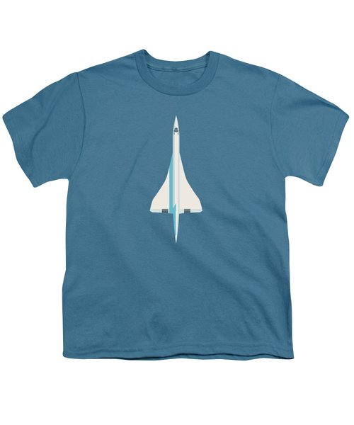 Concorde Jet Passenger Airplane Aircraft - Slate Youth T-Shirt