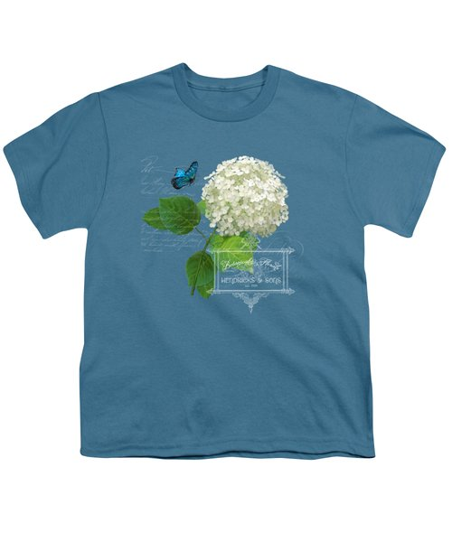 Cottage Garden White Hydrangea With Blue Butterfly Youth T-Shirt by Audrey Jeanne Roberts