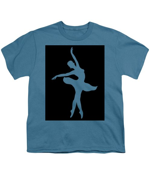 Dancing Ballerina White Silhouette Youth T-Shirt