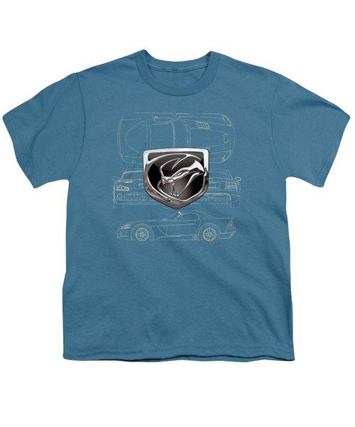 Dodge Viper  3 D  Badge Over Dodge Viper S R T 10 Blueprint  Youth T-Shirt