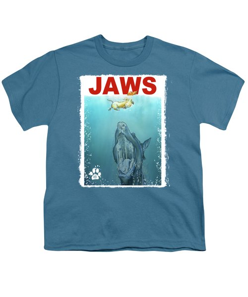 Dog-themed Jaws Caricature Art Print Youth T-Shirt