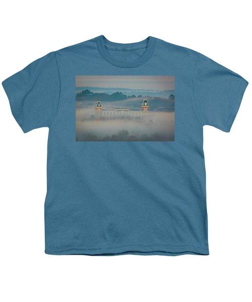Fog At Old Main Youth T-Shirt by Damon Shaw