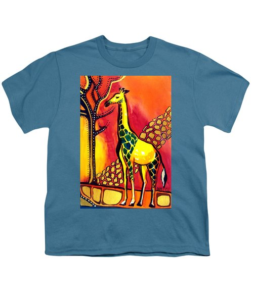 Youth T-Shirt featuring the painting Giraffe With Fire  by Dora Hathazi Mendes