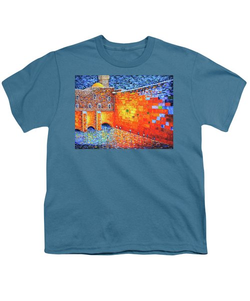 Youth T-Shirt featuring the painting Wailing Wall Greatness In The Evening Jerusalem Palette Knife Painting by Georgeta Blanaru