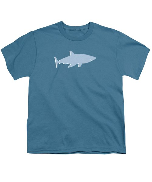 Grey And Yellow Shark Youth T-Shirt by Linda Woods