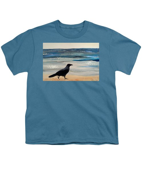 Hooded Crow At The Black Sea By Dora Hathazi Mendes Youth T-Shirt by Dora Hathazi Mendes