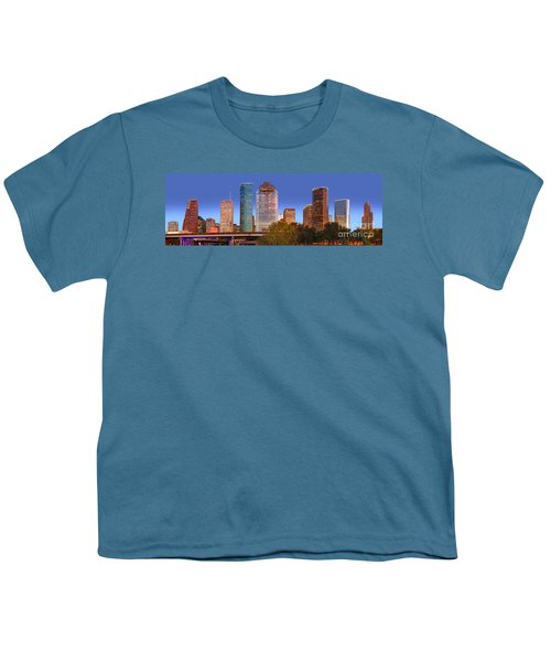 Houston Texas Skyline At Dusk Youth T-Shirt