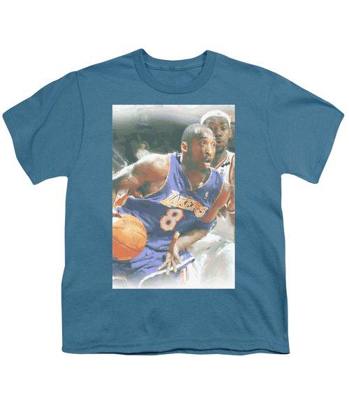 Kobe Bryant Lebron James Youth T-Shirt by Joe Hamilton