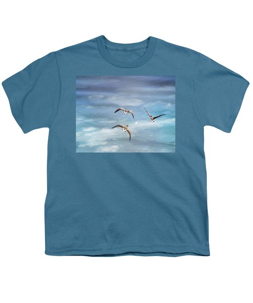 Loons Over Ice - Three Youth T-Shirt by Vicki Jauron