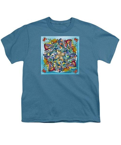 Mandala Fish Pool Youth T-Shirt by Bedros Awak