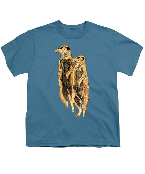 Meerkats Youth T-Shirt by Teresa  Peterson