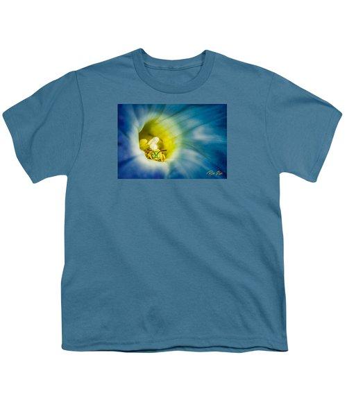 Metallic Green Bee In Blue Morning Glory Youth T-Shirt by Rikk Flohr