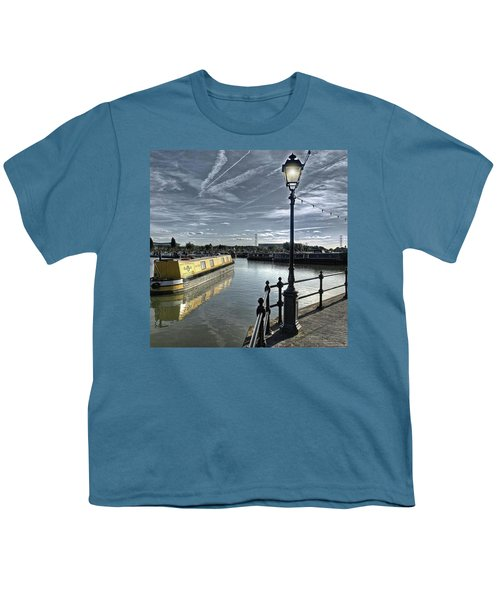 Narrowboat Idly Dan At Barton Marina On Youth T-Shirt by John Edwards