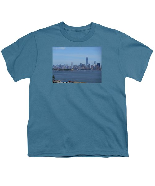 Nyc Skyline Youth T-Shirt by Kathleen Peck