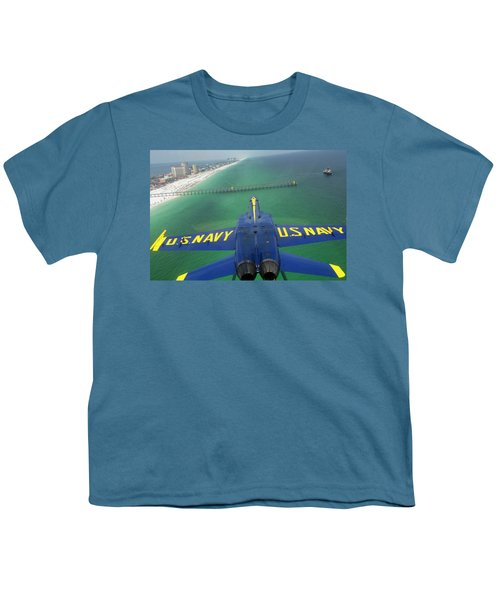 Over Pensacola Beach Youth T-Shirt by Specialist 3rd Class Andrew Johnson