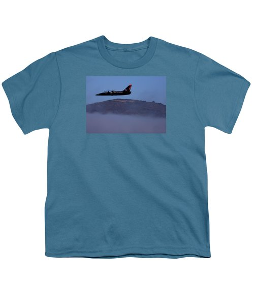 Patriot Jet Skims The Fog Over San Francisco Bay Youth T-Shirt