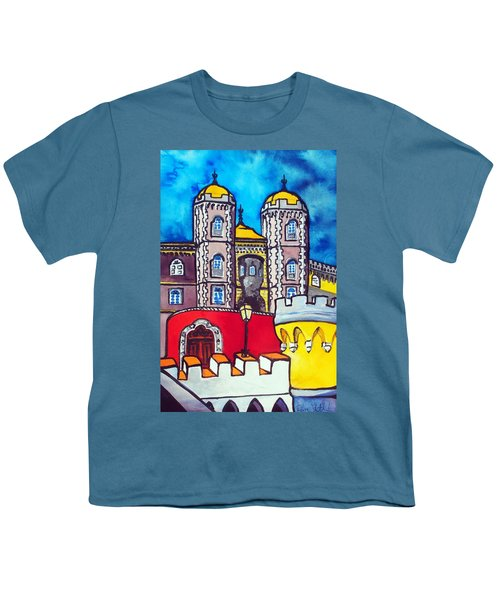 Youth T-Shirt featuring the painting Pena Palace In Sintra Portugal  by Dora Hathazi Mendes