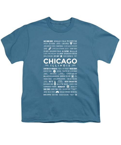 Places Of Chicago On Blue Chalkboard Youth T-Shirt by Christopher Arndt