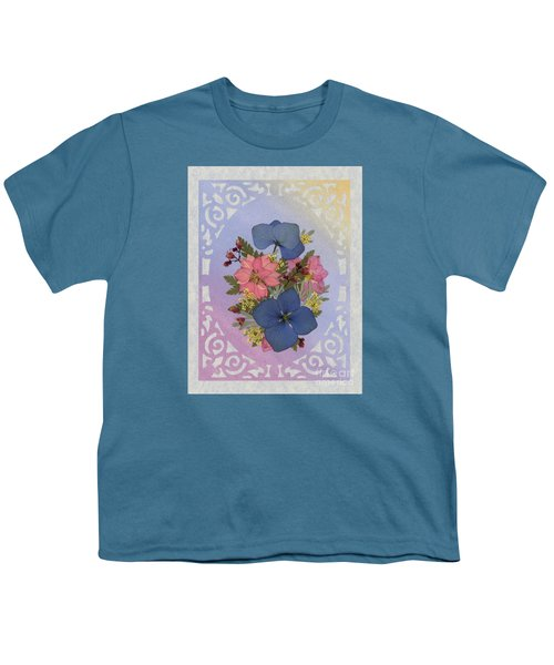 Pressed Flowers Arrangement With Pink Larkspur And Hydrangea Youth T-Shirt