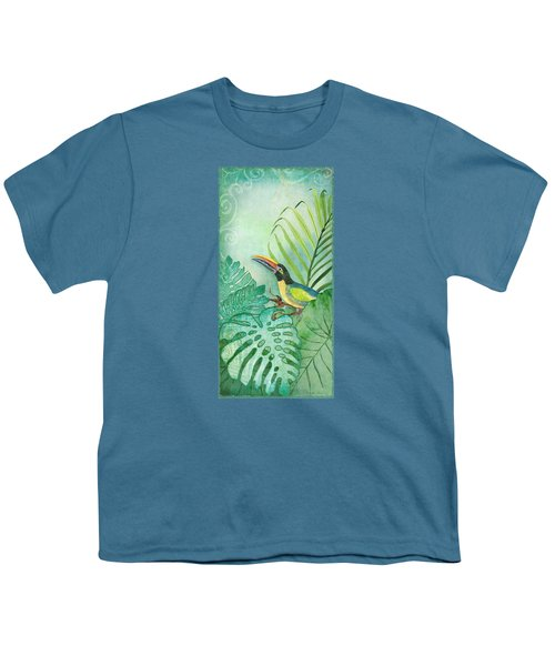 Rainforest Tropical - Tropical Toucan W Philodendron Elephant Ear And Palm Leaves Youth T-Shirt