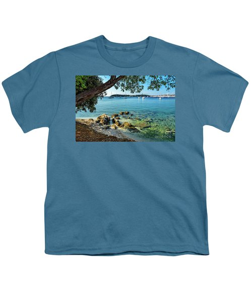 Rovinj Old Town, Harbor And Sailboats Accross The Adriatic Through The Trees Youth T-Shirt