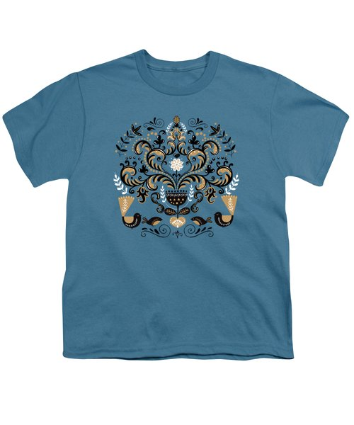 Scandinavian Floral Decoration With Birds Youth T-Shirt