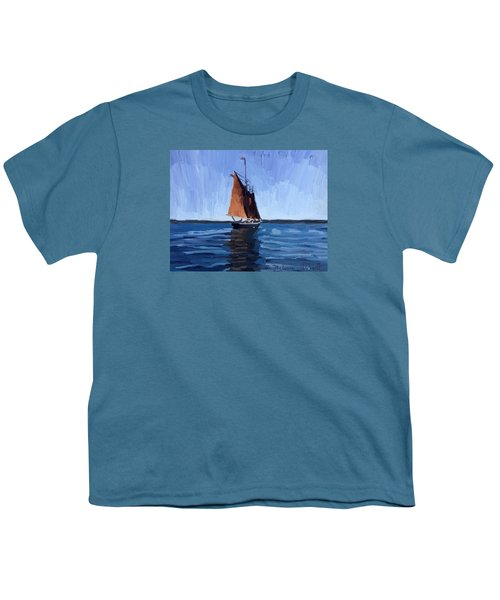 Schooner Roseway In Gloucester Harbor Youth T-Shirt by Melissa Abbott