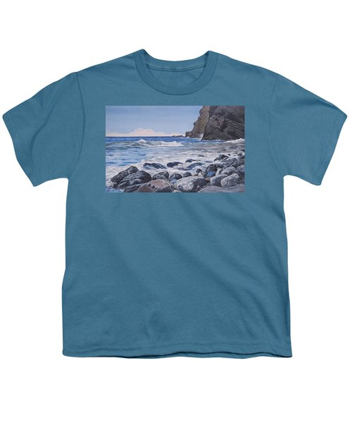 Youth T-Shirt featuring the painting Sea Pounded Stones At Crackington Haven by Lawrence Dyer