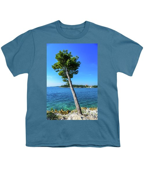 Seaside Leaning Tree In Rovinj, Croatia Youth T-Shirt