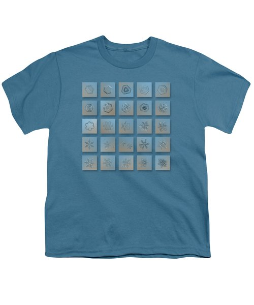 Snowflake Collage - Season 2013 Bright Crystals Youth T-Shirt by Alexey Kljatov