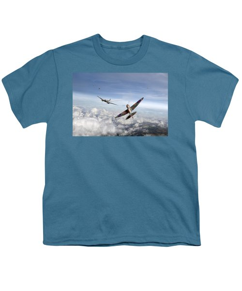 Youth T-Shirt featuring the photograph Spitfire Attacking Heinkel Bomber by Gary Eason