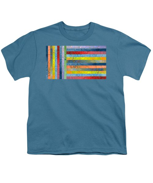 Stripes With Blue And Red Youth T-Shirt by Michelle Calkins
