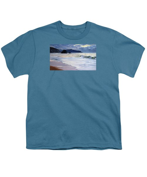 Youth T-Shirt featuring the painting The Black Rock Widemouth Bay by Lawrence Dyer