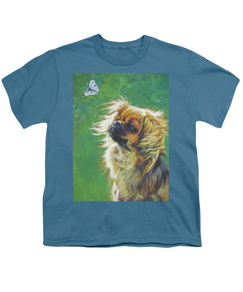 Tibetan Spaniel And Cabbage White Butterfly Youth T-Shirt by Lee Ann Shepard