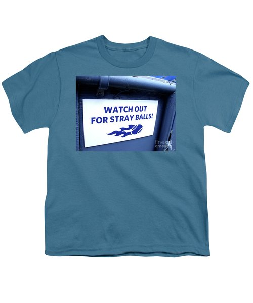 Us Open Tennis Watch Out For Stray Balls Sign Youth T-Shirt