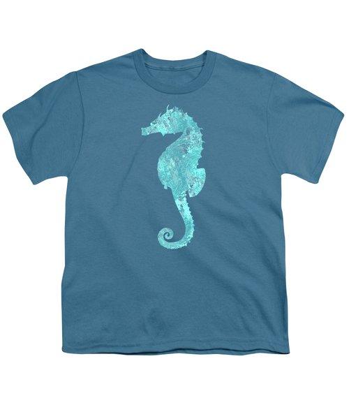 Vibrant Blue Seahorse Beach House Coastal Art Youth T-Shirt