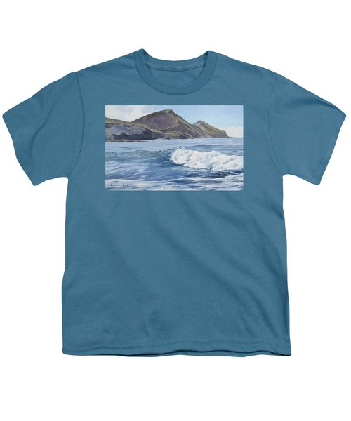 Youth T-Shirt featuring the painting White Wave At Crackington  by Lawrence Dyer