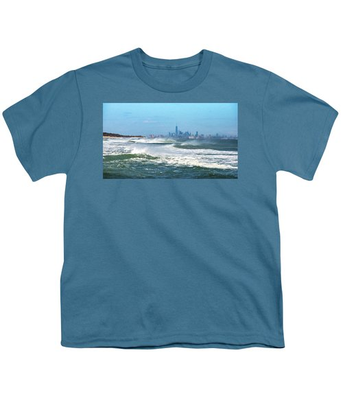 Windy View Of Nyc From Sandy Hook Nj Youth T-Shirt