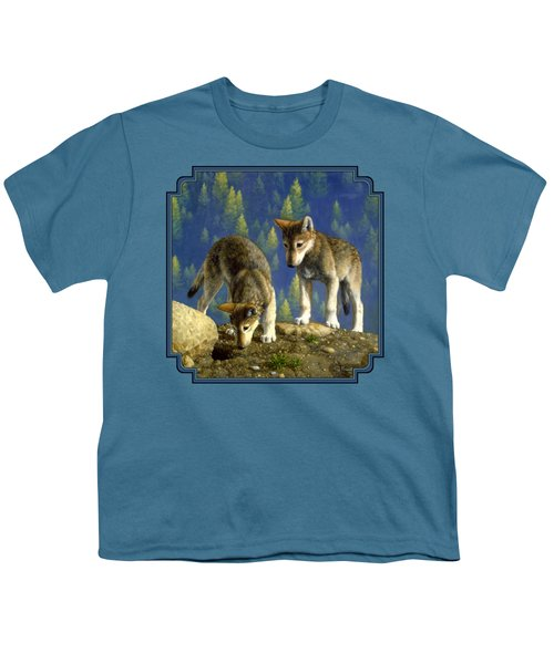 Wolf Pups - Anybody Home Youth T-Shirt by Crista Forest