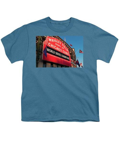 Wrigley Field World Series Marquee Angle Youth T-Shirt by Steve Gadomski